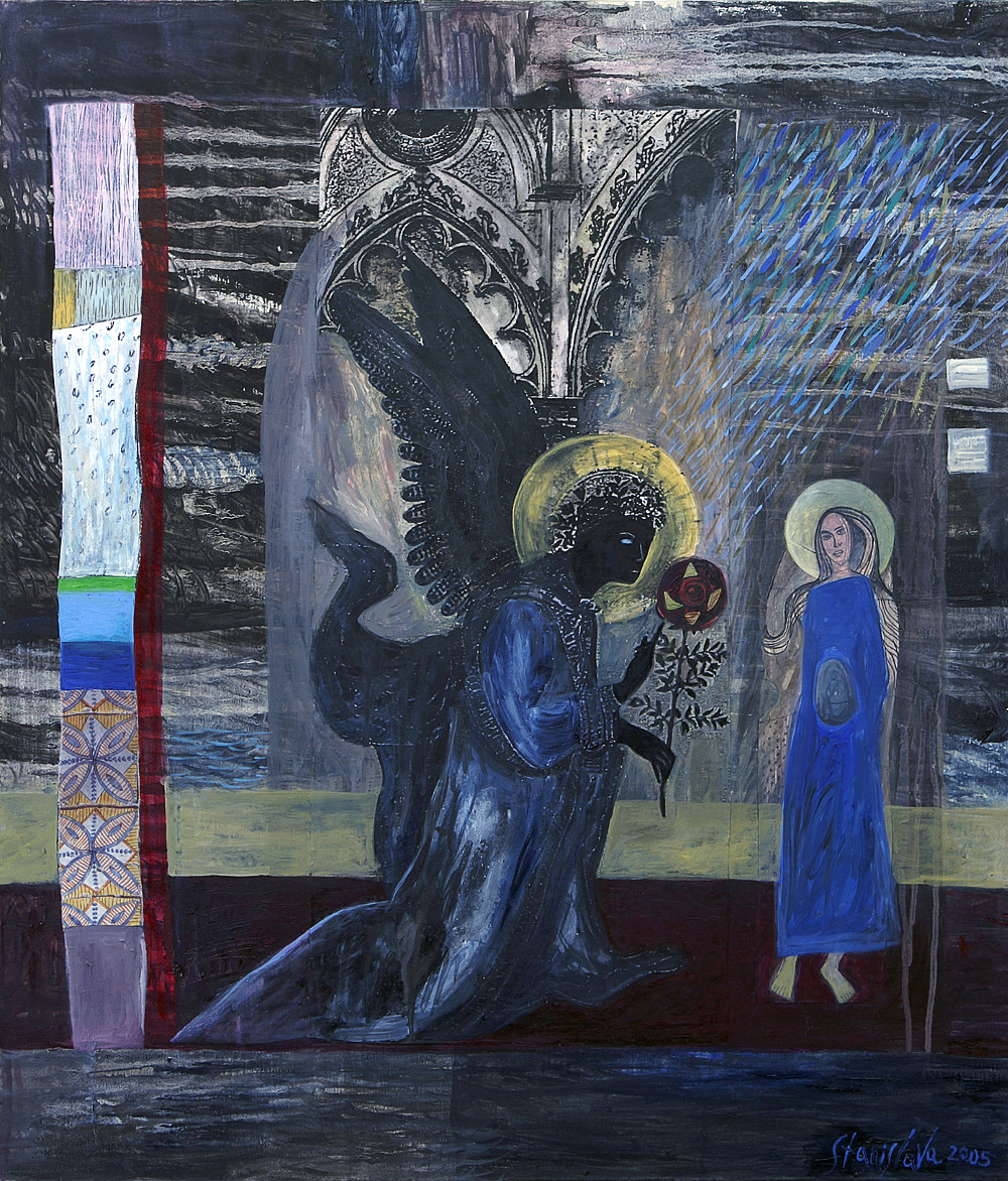 ANNUNCIATION, oil, acrylic, collage and mixed media on canvas, 70/80 cm.