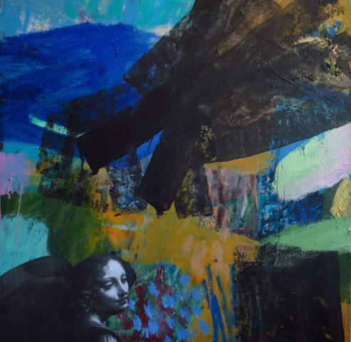 MEMORY 1, oil, acrylic, colage and mixed media on canvas, 100/100 cm.